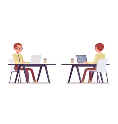 Male clerk working with laptop vector