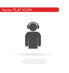 man with headphones icon for web business vector image