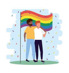 men couple together in lgbt parade vector image