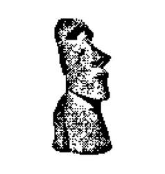 Moai statue in the rano raraku volcano in easter vector