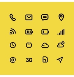 Mobile interface and apps line icon set vector image
