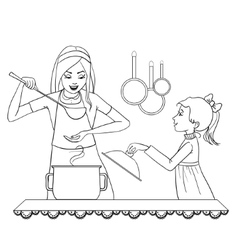 Mother and daughter tests food in the kitchen vector