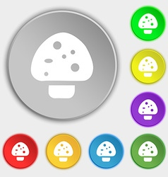 mushroom icon sign Symbol on eight flat buttons vector image