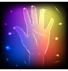 Neon Hand Five vector