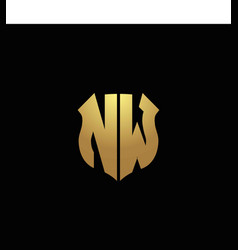 nw logo monogram with gold colors and shield vector image