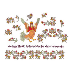 old slavic vintage decor elements set isolate on vector image
