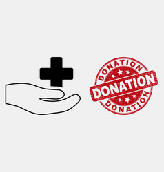 outline medical donation hand icon and vector image