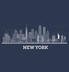 outline new york usa city skyline with white vector image