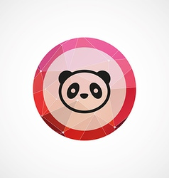 Panda circle pink triangle background icon vector