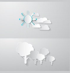paper cut trees clouds and sun abstract nature vector image