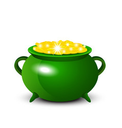 Patrick day background with cauldron of gold coins vector