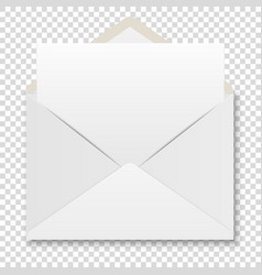 realistic white envelope with white paper vector image