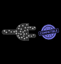Rubber compatible seal and bright web mesh vector