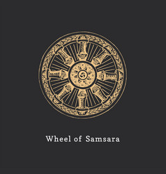Samsara wheel life in vector