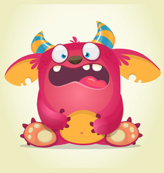 Scared cartoon pink monster vector