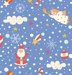 Seamless pattern with a Christmas angel and Santa vector image