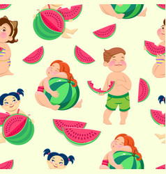 seamless pattern with children eating watermelon vector image
