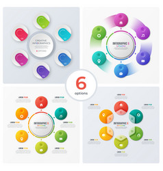 set modern circle charts infographic designs vector image