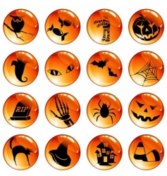 set of orange Halloween icons vector image