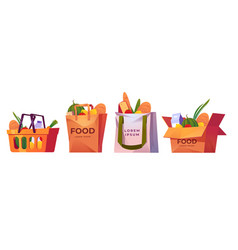 Shopping bags market basket and box with grocery vector