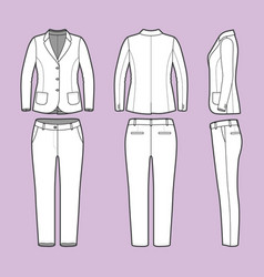 simple outline drawing of a blazer and pants vector image