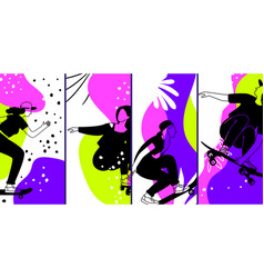 skateboarding characters banners vector image