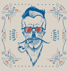 skull barber logo hipster style vector image