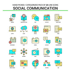 social communication flat line icon set vector image