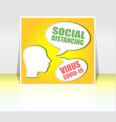 Social distancing the silhouette a head vector
