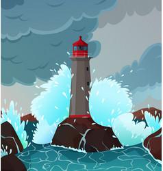 Stormy seaside landscape vector