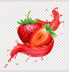 Strawberry 3d realistic splash juice vector