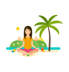 Summer girl is engaged in yoga and meditation vector