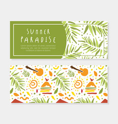 summer paradise horizontal banner template vector image