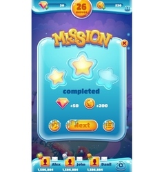 Sweet world mobile GUI mission completed vector