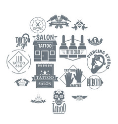 Tattoo logo icons set simple style vector