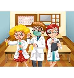 Three scientists with beakers in the classroom vector image
