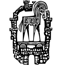 Trojan horse in walls vector