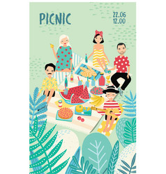 Vertical advertising poster on a picnic theme vector