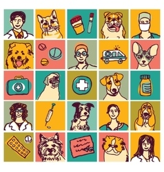 Veterinary doctors pets icons and objects set vector