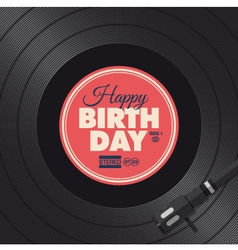 vinyl happy birthday red card vector image
