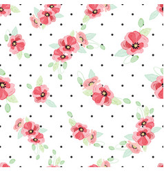 Watercolor red poppy bouquet on dot background vector