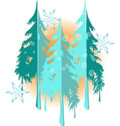 winter landscape background with nice snowflakes vector image