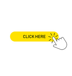 Yellow button click here with pointer clicking vector