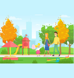 young family with kid vector image