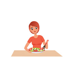 young woman cooking salad preparing healthy meal vector image