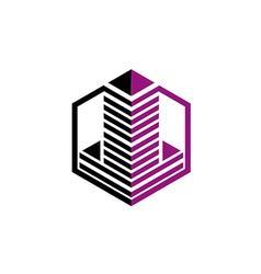 city building construction stripe logo vector image vector image