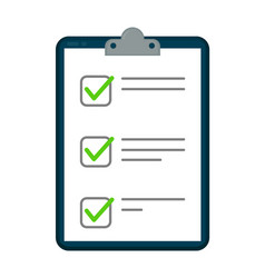 clipboard with checklist icon flat vector image