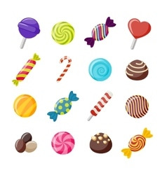 Assorted Candies Decorative Flat Icons Set vector image
