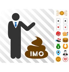 Businessman show imo shit icon with bonus vector