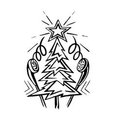 christmas tree with music headphones vector image